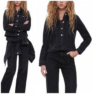 NEW Zara TRF Fitted Denim Faded Black Jean Jacket